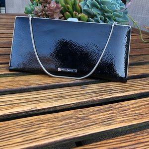 Silky black leather bag/clutch